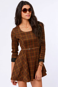 Gypsy Junkies Alpha Brown Plaid Dress at Lulus.com!