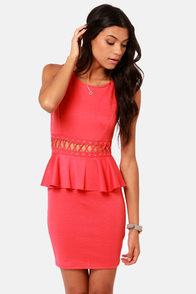 Waistin' Time Coral Red Peplum Dress at Lulus.com!