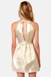 Hip, Hip Brocade! Gold Brocade Dress at Lulus.com!