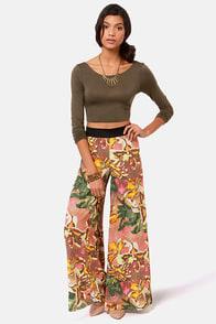 BB Dakota Chase Blush Floral Print Wide-Leg Pants at Lulus.com!
