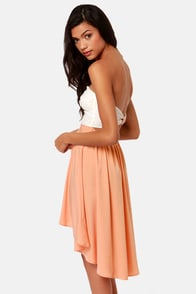 High-Low Can You Go? Ivory and Peach Strapless Dress at Lulus.com!