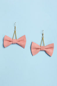 Claire Fong Zooey Pink Bow Earrings at Lulus.com!