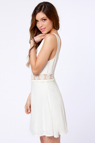 I Mid You Not Ivory Lace Dress at Lulus.com!