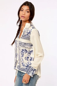 Insight Bandana Ivory Print Shirt at Lulus.com!