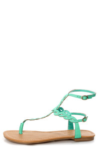 Subrina 32 Mint Braided Ankle Strap Thong Sandals at Lulus.com!