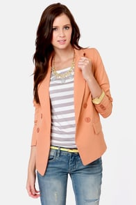 Costa Blanca Peach Fuzz Peach Blazer at Lulus.com!
