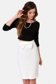 The Bow-ed and the Beautiful Ivory Pencil Skirt at Lulus.com!