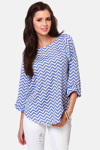 Fits and Squiggles Blue and White Striped Top