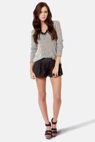 Costa Blanca Black Licorice Black Lace Shorts at Lulus.com!