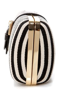 City Limits Black and Cream Striped Clutch at Lulus.com!