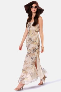 Costa Blanca Juliette Chiffon Floral Print Maxi Dress at Lulus.com!
