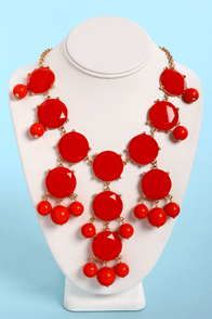 Bubble Bee Coral Red Statement Necklace at Lulus.com!