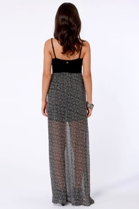 Billabong Broken Up Black Print Maxi Dress at Lulus.com!