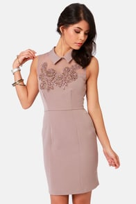Darling Marni Taupe Beaded Dress at Lulus.com!