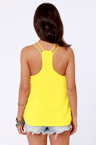 Costa Blanca Flutterby Bright Yellow Tank Top at Lulus.com!