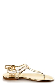 Chinese Laundry Natalia Clear and Light Gold Thong Sandals at Lulus.com!
