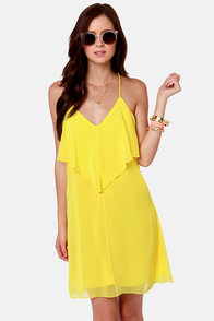 Costa Blanca Roxanne Racerback Bright Yellow Dress