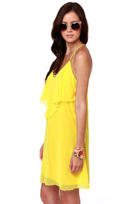 Costa Blanca Roxanne Racerback Bright Yellow Dress at Lulus.com!
