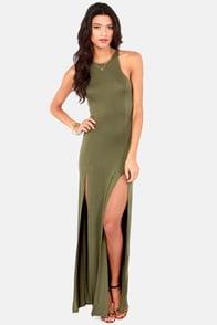 Stem Spells Army Green Racerback Maxi Dress