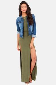 Stem Spells Army Green Racerback Maxi Dress at Lulus.com!