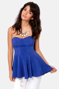 Your Finest Hourglass Strapless Blue Top at Lulus.com!