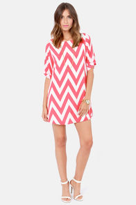 Can You Zig It? Coral Pink Chevron Print Dress at Lulus.com!