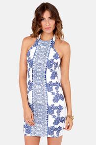 Porcelain Doll Blue and White Print Halter Dress
