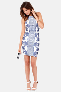 Porcelain Doll Blue and White Print Halter Dress at Lulus.com!