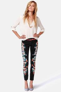 Insight Python Art Floyd Black Floral Skinny Jeans