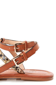 Very Volatile Locket Brown Snake T-Strap Gladiator Sandals at Lulus.com!