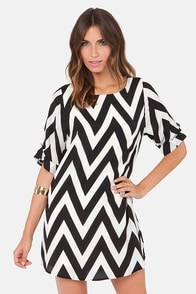 Can You Zig It? Black Chevron Print Dress