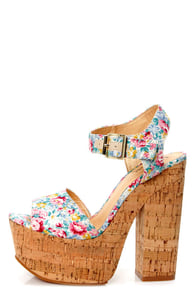 Luichiny Vic Toria Mint Floral Print Platform Sandals at Lulus.com!