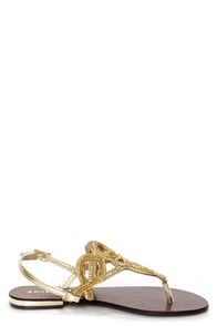 Bamboo Bloom 68 Gold Beaded Rhinestone Thong Sandals at Lulus.com!