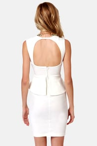 Pass the Pep-er Ivory Peplum Dress at Lulus.com!