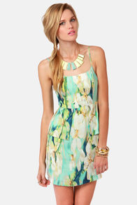 BB Dakota Debralyn Mint Floral Print Dress