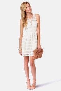 BB Dakota Jacynth Ivory Lace Dress at Lulus.com!