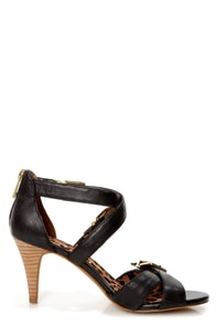 Jessica Simpson Eugenias Black Strappy Belted Heels at Lulus.com!