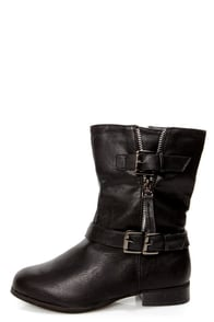 Ardie 3 Black Belted Motorcycle Boots at Lulus.com!