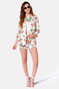 Commander in Leaf Floral Print Blazer at Lulus.com!