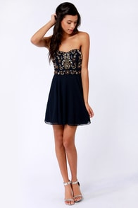 TFNC Amelia Strapless Navy Blue Beaded Dress at Lulus.com!