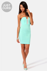 LULUS Exclusive Art of Dip-Low-macy Mint Blue Strapless Dress