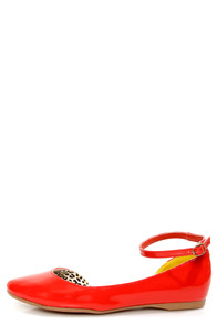 Chinese Laundry Bianca Sweet Orange Patent D'Orsay Pointed Flats at Lulus.com!