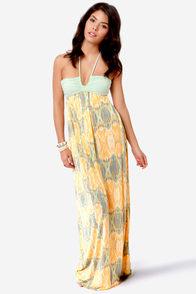 O'Neill Nyla Mint and Orange Print Maxi Dress