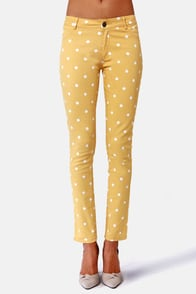 Penny for Your Dots Yellow Polka Dot Jeggings at Lulus.com!