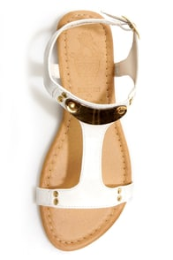 Darlene 2 White Gold Plated T-Strap Sandals at Lulus.com!