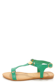 Darlene 2 Green Gold Plated T-Strap Sandals at Lulus.com!