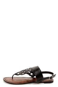 GoMax Berdine 87 Black Strappy Thong Sandals at Lulus.com!