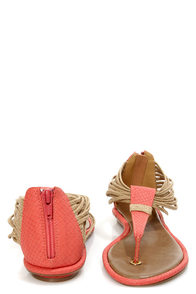 GoMax Kitty Corner 08 Coral Ankle Cuff Thong Sandals at Lulus.com!