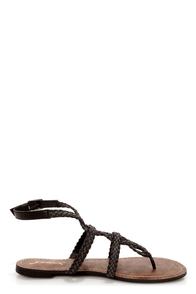 GoMax Berdine 92 Black Braided Strappy Gladiator Sandals at Lulus.com!
