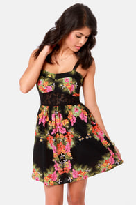Element Eden Paris Floral Print Lace Dress at Lulus.com!